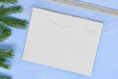 Christmas flat lay Primed cardboard for painting on the backgrou Stock Images