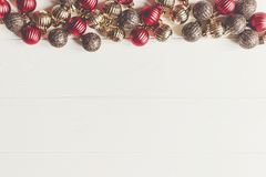 Christmas flat lay. red and gold christmas ornaments  frame or b Stock Images