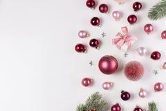 Christmas flat lay scene with glass balls stock photo