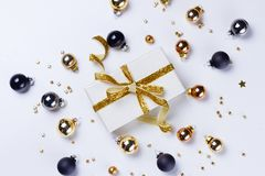 Christmas flat lay scene with glass balls royalty free stock photos