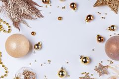 Christmas flat lay scene with golden decorations stock image