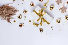 Christmas flat lay scene with golden decorations royalty free stock images