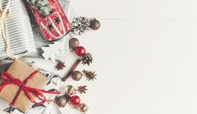 Christmas flat lay. wrapped presents with ornaments  car toy and Stock Images