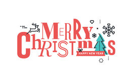 Christmas flat line design concept for greeting card and banner. Stock Photography