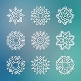 Christmas flat line vector snowflakes Royalty Free Stock Images