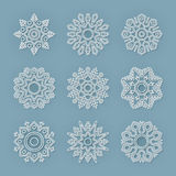 Christmas flat line vector snowflakes set Royalty Free Stock Photography