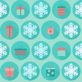 Christmas flat seamless pattern with gifts. Christmas and New Year vector seamless pattern in flat design with icons gift boxes and snowflakes royalty free illustration