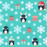 Christmas flat seamless pattern with gifts and penguins. Childish Christmas and New Year vector seamless pattern in flat design with cute penguins, gift boxes stock illustration