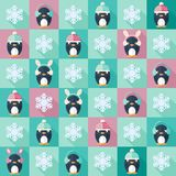 Christmas flat seamless pattern with penguins. Childish vector seamless pattern in flat design with penguins and snowflakes royalty free illustration