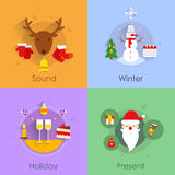 Christmas flat set Royalty Free Stock Images