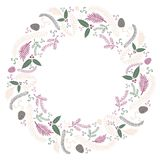 Christmas flat wreath postcard vector. Christmas greeting card template / background flat design style for your graphics. Merry Christmas Royalty Free Stock Image