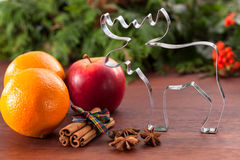 Christmas flavors and cookie cutter Stock Photography