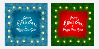 Christmas flayer brochure and cards with tree branches, slogan, thin frame, light garland on red and blue background. Lettering Happy New year background for Royalty Free Stock Photography