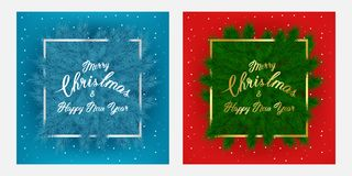 Christmas flayer brochure and cards with tree branches, slogan, thin frame and snow on red and blue background. Lettering Happy New year background perfect for Stock Photos
