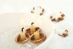 Christmas floating candles Stock Photo