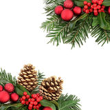 Christmas Flora and Bauble Border Royalty Free Stock Photo