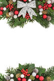 Christmas Flora with Silver Bow Border Royalty Free Stock Photography