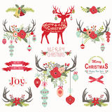 Christmas Floral Antlers Elements Stock Image