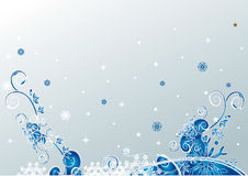 Christmas floral background. Silver grunge christmas snowflakes floral  background Royalty Free Stock Image