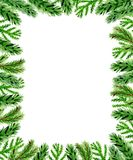 Christmas floral background with fir branch. Hand drawn watercolor Christmas background with green fir branch. Green floral frame on a white background Royalty Free Stock Photos