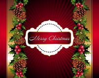 Christmas floral background with pinecone Stock Photography