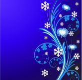 Christmas floral background with snowflake Stock Image