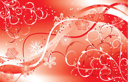Christmas floral background with a snowflakes, vector Royalty Free Stock Photo
