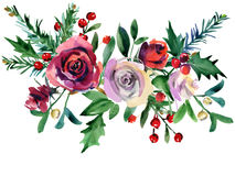 Christmas floral background. winter holiday nature illustration. Watercolor red rose flower, holly, pine branch, berries vector illustration