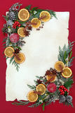 Christmas Floral Border with Fruit and Spice Royalty Free Stock Photography