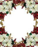 Christmas border poinsettias Royalty Free Stock Images