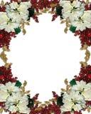 Christmas border poinsettias royalty free stock images