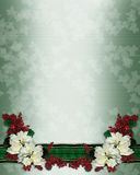 Christmas floral border poinsettias Stock Photo