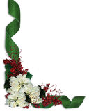 Christmas Floral Border ribbons. Christmas floral design with white poinsettias, holly berries and green damask ribbons for greeting card, invitation, border or Royalty Free Stock Image