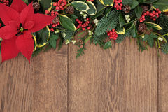 Christmas Floral Border Stock Image