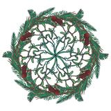 Christmas floral circular ornament . Fir tree and mistletoe branches with leafs, cones and berries. Christmas greeting. Card template. EPS10 vector illustration Royalty Free Stock Images