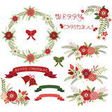 Christmas Floral Collections.Elements,Label,Wreath,Bell Royalty Free Stock Images