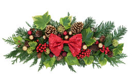 Christmas Floral Decoration with Bow Royalty Free Stock Image