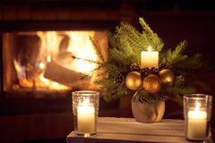 Christmas floral decoration. stock photos