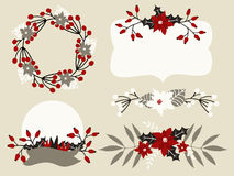 Christmas Floral Elements Collection. A set of Christmas floral arrangements, labels and wreaths in white, red, gray and black Stock Images