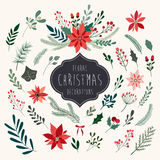Christmas floral elements collection Royalty Free Stock Photography