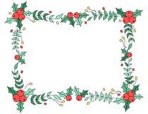 Christmas floral frame design Stock Images