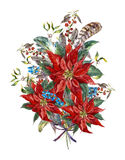 Christmas floral greeting card with poinsettia Stock Image