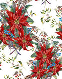 Christmas floral seamless pattern with poinsettia Stock Photo