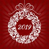Christmas floral wreath with 2019 on a red background with rays. Suitable for greeting card, banner, poster vector illustration