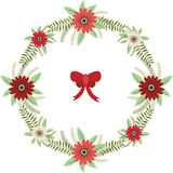 Christmas Floral wreath with red bow set Stock Image