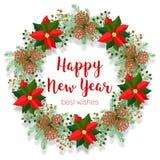 Christmas floral wreath, round frame, blank banner, poinsettia clip art, vector illustration isolated on white. Christmas floral wreath, round frame, blank Stock Photos