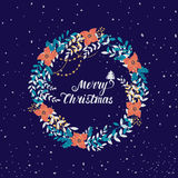 Christmas floral wreath. Vector circular floral wreath with winter Christmas flowers and central white copyspace for your text. Vector hand drawn sketch of Stock Photo