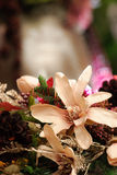 Christmas flower arrangement. Close up of a beautiful christmas flower arrangement. Shallow dof, with copy space Royalty Free Stock Photo