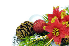 Christmas flower with balls Stock Photos