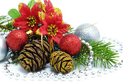 Christmas flower with balls Stock Photography